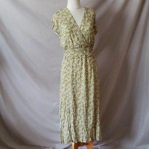 WAYF Double Slit Smocked Midi Dress